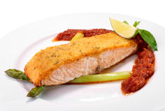 Salmon and asparagus on white background Stock Photography