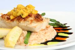 Salmon and aspargus tempura Royalty Free Stock Images