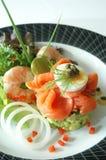 Salmon Avocada Salad Arkivfoto