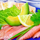 Salmon and avocado Royalty Free Stock Images