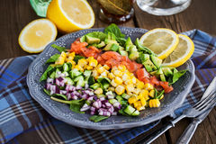 Salmon, avocado, corn, cucumber and onion salad Royalty Free Stock Photography