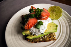 Salmon and Avocado - Healthy Breakfast. A healthy breakfast of salmon, avocado, lime and yogurt on a white plate Stock Photography