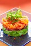 Salmon and avocado salad Stock Photos
