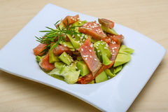 Salmon and avocado salad Royalty Free Stock Image