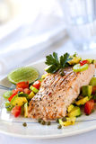 Salmon with Avocado Salsa Royalty Free Stock Photography