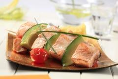 Salmon and avocado skewer Stock Photo