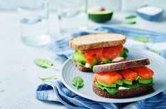 Salmon Avocado Spinach Rye Sandwich fumado Fotos de Stock Royalty Free