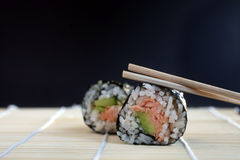 Salmon and avocado sushi Royalty Free Stock Photo