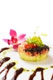 Salmon and avocado tartar. On white background Royalty Free Stock Photo
