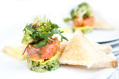 Salmon and avocado tartar. Royalty Free Stock Images