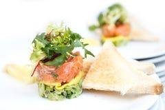 Salmon and avocado tartar. Royalty Free Stock Images