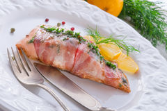 Salmon in the bacon coat Stock Image