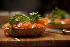 Salmon bagel Stock Photos