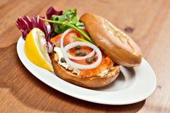 Salmon Bagel Sandwich royalty-vrije stock afbeeldingen