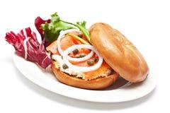 Salmon Bagel Sandwich royalty-vrije stock foto's