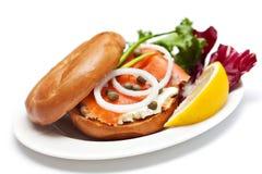Salmon Bagel Sandwich royalty-vrije stock foto