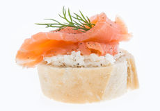 Salmon on a Baguette against white Stock Images