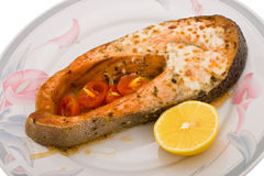 Salmon baked in mayonnaise Royalty Free Stock Photos