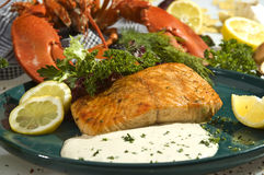 Salmon baked with mexican spicy stock photography