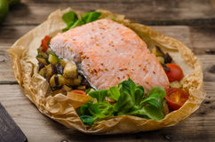 Salmon baked in papillote Royalty Free Stock Photography