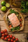 Salmon baked in papillote Royalty Free Stock Image