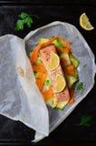Salmon Baked In Parchment Paper Stock Afbeeldingen
