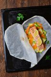 Salmon Baked In Parchment Paper Stock Fotografie