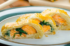 Salmon baked in puff pastry Royalty Free Stock Image