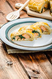 Salmon baked in puff pastry stock photography
