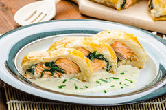 Salmon baked in puff pastry Royalty Free Stock Photo
