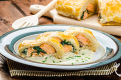 Salmon baked in puff pastry Royalty Free Stock Images