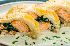 Salmon baked in puff pastry Stock Image