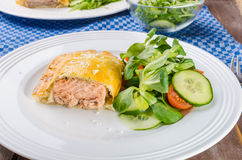 Salmon baked in puff pastry Stock Photo