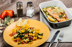 Salmon baked with thyme and Mediterranean vegetables Stock Photography