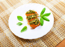 Salmon baked under a crust from sauce pesto Royalty Free Stock Photos