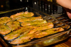 Salmon baking dish Royalty Free Stock Images