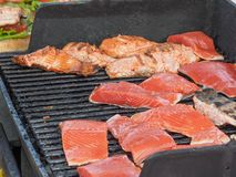 Salmon on barbeque Stock Image