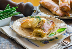 Salmon and basil butter filo parcels Royalty Free Stock Photography