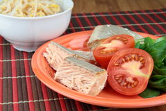 Salmon and bean sprouts. Salmon with tomato on plate and bowl of bean sprouts Royalty Free Stock Images