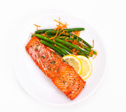 Salmon with beans Royalty Free Stock Photo