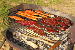 Salmon and beef on barbecue Stock Photography