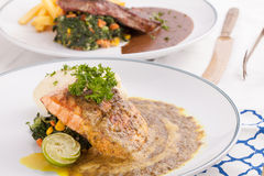 Salmon and beef steak Royalty Free Stock Photography