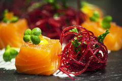 Salmon with beetroot Royalty Free Stock Image