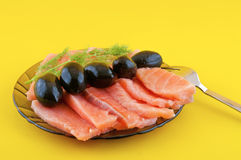 Salmon   and black olives Stock Images