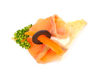 Salmon Blinis Canaps Stock Photo