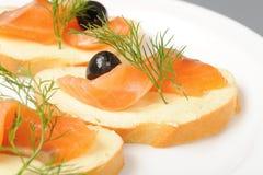 Salmon on bread Royalty Free Stock Photos