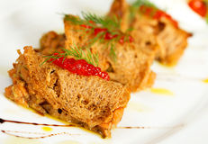 Salmon with bread and red caviar Stock Photo