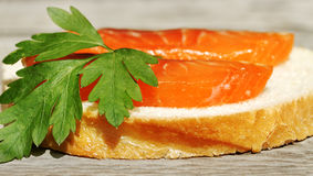 Salmon on a bread. Stock Images