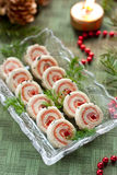 Salmon bread rolls appetizers Royalty Free Stock Photos