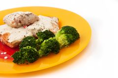 Salmon with broccoli Stock Images
